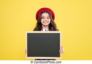 Child promo information board. Place for information. Girl hold blank blackboard. Advertising product copy space. Back to school concept. School information. Informing you. Expect the unexpected