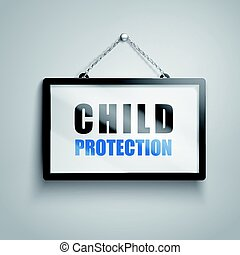 child protection text sign