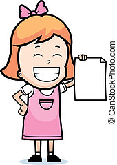 Child Proud - A happy cartoon child proudly holding a piece ...
