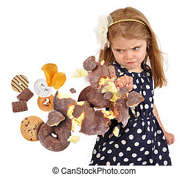 Child Punching Unhealthy Junk Food Snakes on White