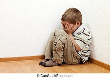 Child punishment - Little child boy wall corner punishment...