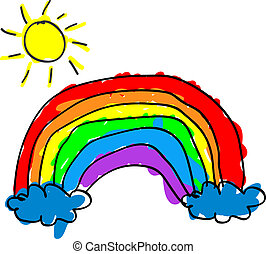 Child rainbow - Childlike cute rainbow with color outside...