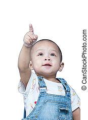 Child raises up forefinger