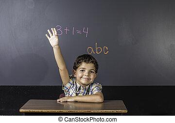 Child Raising Hand in Classroom.