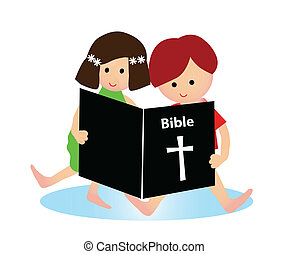 Child reading bible - Little boy and girl reading bible