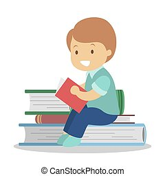 Child reading book. Kid read in kindergarten or school