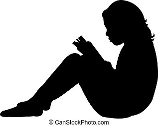child reading the book, silhouette