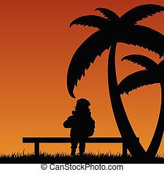 child relax in nature illustration
