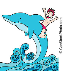 Child Rides Dolphin isolated on a white background image.