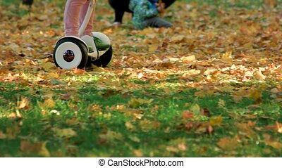 Child riding around on electrical board. Fallen autumn oak...