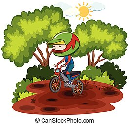 Child riding dirtbike through forrest illustration
