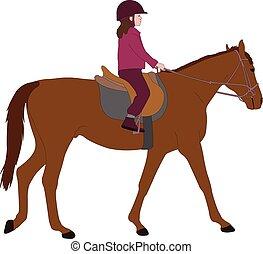 child riding horse color illustration