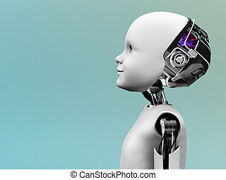 Child robot head in profile. - The profile of a child robot...