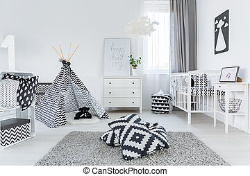 Child room in scandinavian style with carpet, cot and ...