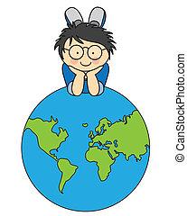 Boy with a globe