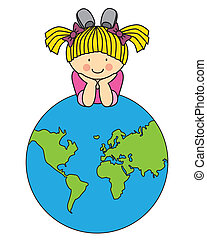 Girl with a globe