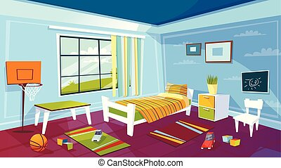 Child room vector cartoon illustration of kid boy bedroom interior furniture and toys background
