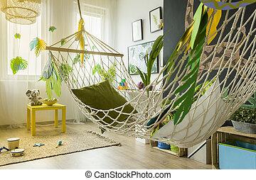 Child room with hammock