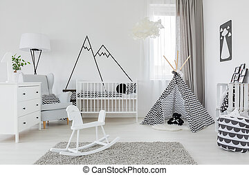 Child room with white furniture, carpet, tent and wall...