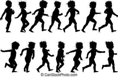 Child Running - child running, black silhouettes, fourteen...