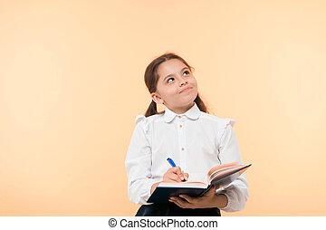 Child school uniform kid doing homework. Child girl school ...