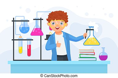 Child scientist in scientific chemical experiment, boy chemist holding laboratory flask
