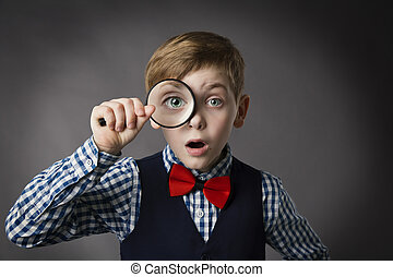 Child See Through Magnifying Glass, Kid Eye Looking with...