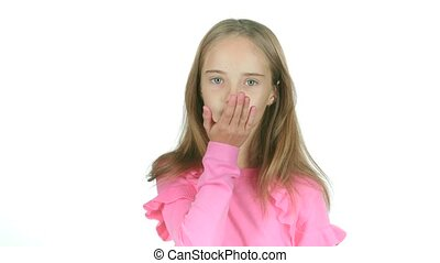 Child sends an air kiss. White background. Slow motion -...