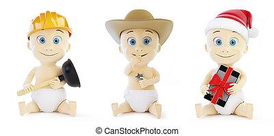 Child set in santa hat, cap sheriff on a white background 3D illustration
