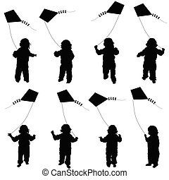 child set plying with dragon illustration in black