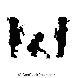 child set with coffee silhouette illustration