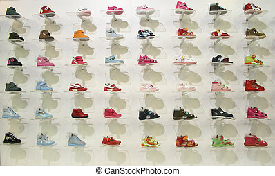 child shoes in shop