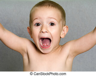Child shouting - Little child boy shouting or screaming for...