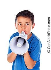 Child shouting through a megaphone
