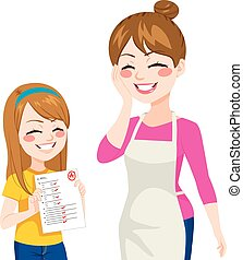 Child Showing Good Grades - Beautiful child girl showing her...