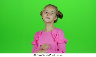 Child shows different emotions. Green screen. Slow motion -...