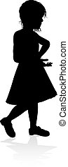 Child Silhouette - A high quality detailed kid or child in...
