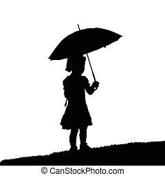 child silhouette black with umbrela in nature design illustration