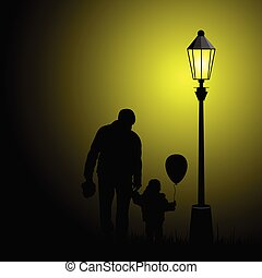 child  silhouette illustration with balloon and father