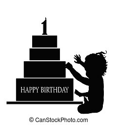 child  silhouette illustration with birthday cake