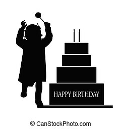 child  silhouette illustration with cake