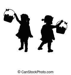 child  silhouette illustration with egg in basket