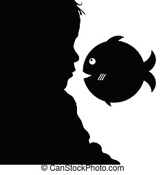 child  silhouette illustration with fish