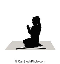 child silhouette in black with sword illustration