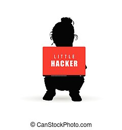 child silhouette little hacker with laptop illustration