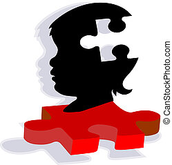 Child Silhouette on Autism Puzzle - Bold red and black...