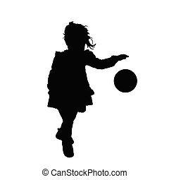 child silhouette playing with ball illustration