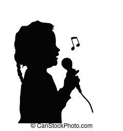 child silhouette singing illustration