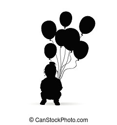 child silhouette with balloon in black illustration