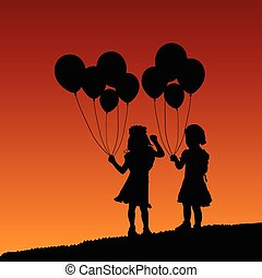 child silhouette with balloon in nature design illustration